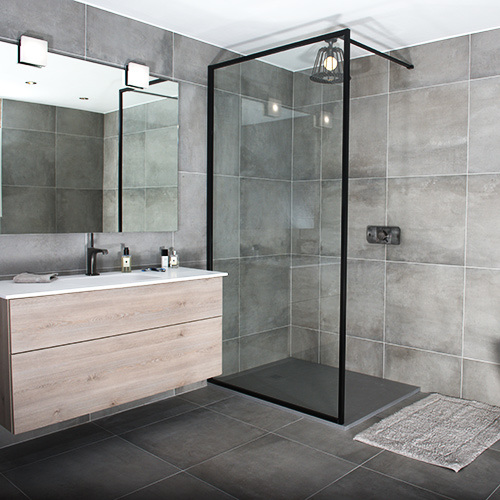 China 8mm Bathroom Black Aluminium Frame Tempering Glass Shower