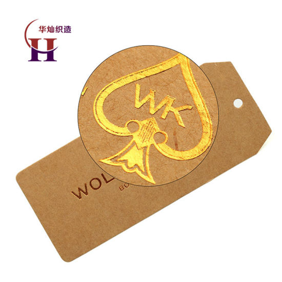 Custom Design Gold Foil Hot Stamp Logo Label Craft Cardboard Paper Price Swing Hang Tags for Clothing