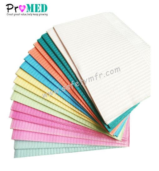 Top manufacturer direct supply economic water proof/spalsh resistant/PE film/Paper Dental napkin