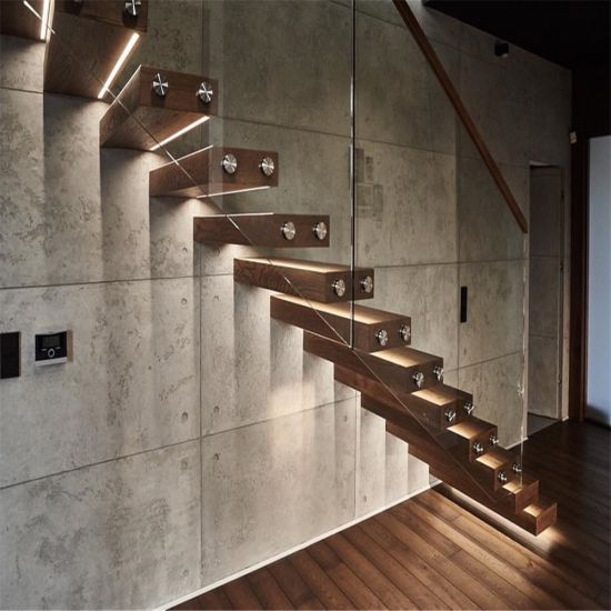 Modern Design Floating Staircase With Stainless Steel Cable Railing