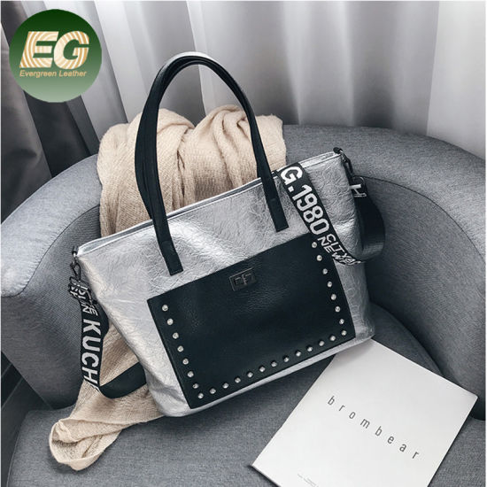 Big PU Tote Bag with Studded for Ladies Shopping Sh665