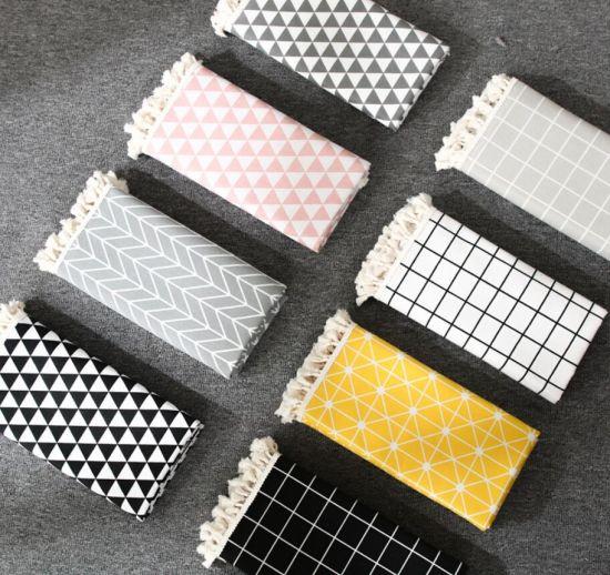 Circular Printed Dustproof Cotton Linen Tassel Table Cloth