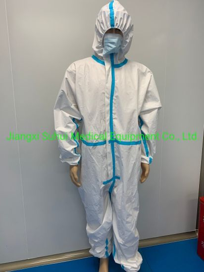 Protective Disposable Coverall Clothing Without Boots and Hood