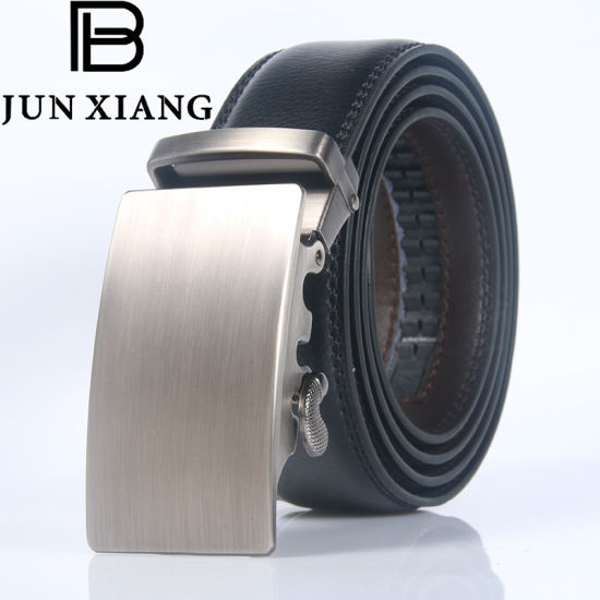 Men's Leather Ratchet Belt with Fashion Automatic Buckle