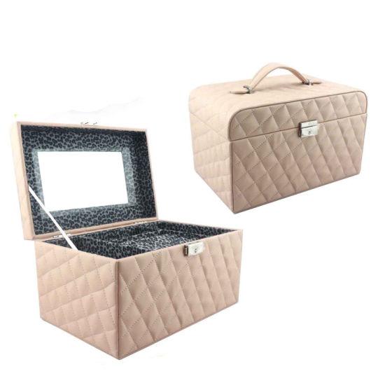 Fashion Leather Jewelry Storage Box Jewel Box with Mirror (8208)