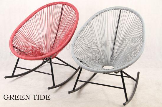 China Outdoor Garden Furniture Steel Rattan Wicker Rocking Egg Chair