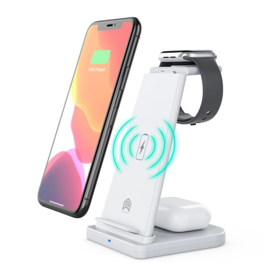 3 in 1 Wireless Charger 10W Qi Fast Wireless Charger Stand Wireless Charging Station for Watch Series 1/2/3/4