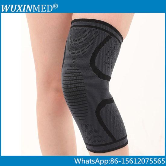 Nylon Compression Knit Sport Running Lap Knee Brace Support Sleeve