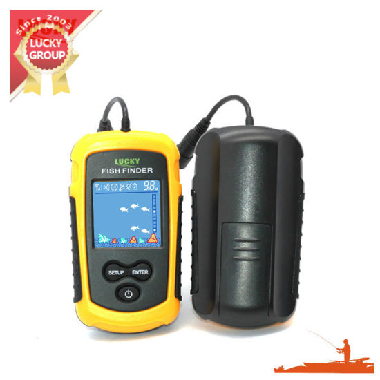 FFC-1108-1 Lucky Portable Fish Finder Sonar, Tn/ Anti-UV LCD Display with Clear LED Backlight for Night Fishing 100m (328FT) Depth Detection Fishfinder