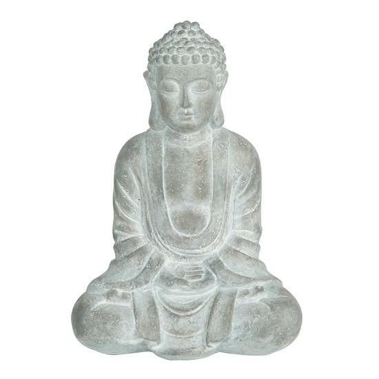 Wholesale BSCI Factory New Arrive Zen Garden Decor Grey Resin Sitting Meditation Buddha Statue