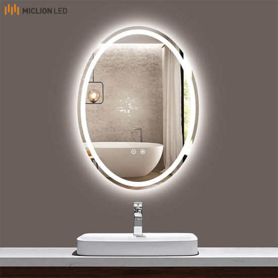 High Quality Oval Shape IP44 LED Lighted Beauty Salon Mirror Wall Mounted China Factory