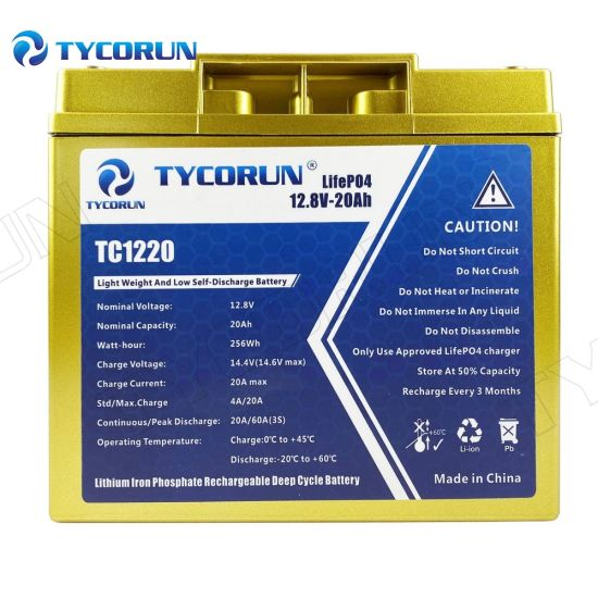 Tycorun Lithium Ion Battery LiFePO4 Portable Solar 12V 20ah Scooter Battery Pack with Long Life
