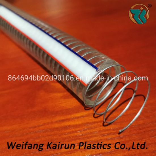 Transparent PVC Flexible Discharge Water Steel Wire Reinforced Hose Plastic Spring Hoses