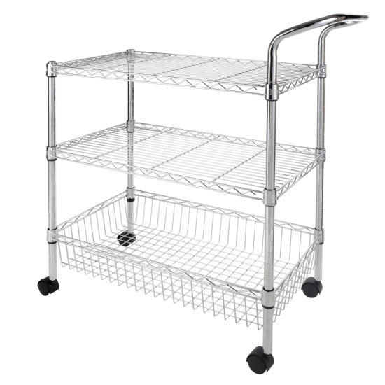 Durable 3-Tier Chrome Kitchen Food Fruits Metal Wire Shelf Cart pictures & photos