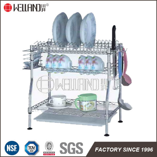 Patented Adjustable 2-Tiers Chrome Kitchen Dish Drainer Rack with Knife Holder pictures & photos