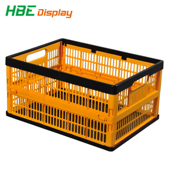 Colored Plastic Foldable Handle Basket Storage Crate Box pictures & photos