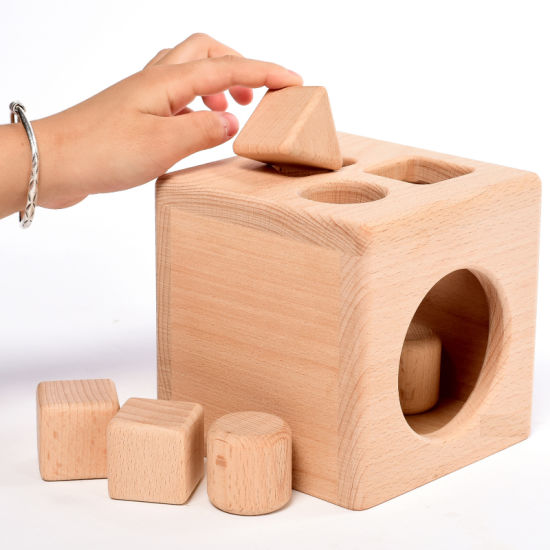 Wooden Toddler Children Educational Shapes Sorting Non Toxic Blocks Cube Toys pictures & photos