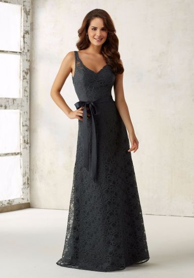 Lace Sash Gray Sheath Evening Bridesmaid Dress for Bridal Wedding