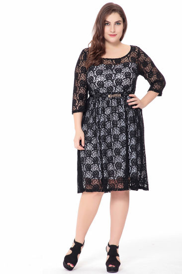 f7872262c9f8d Women Elegant Office Evening Party Big Large Size Dresses Summer Plus Size  Floweral Embroideried Dress L- 6XL. Get Latest Price