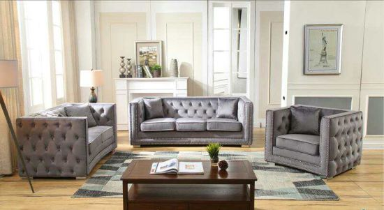 China Living Room Simple Design Button Chesterfield Sofa Set China