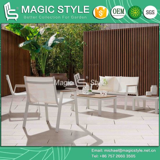 Outdoor Chair with Poly Wood Garden Sling Chaise Chair Hotel Poly Wood Tea Table Stackable Leisure Sofa Patio Furniture