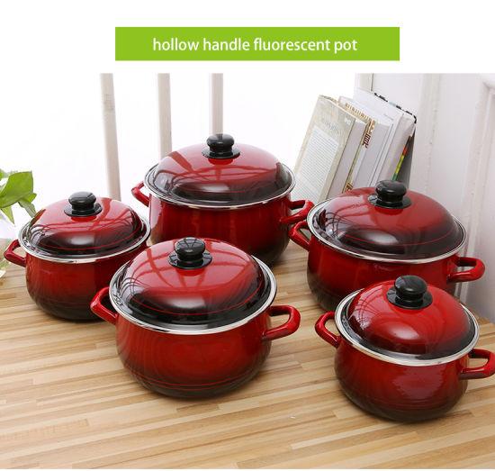 5PCS Set Enamel Fluorescence Casseroel Cooking Pot Set with Black Bottom 773 Edbl