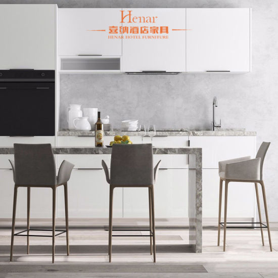 [Hot Item] Modern Metal Counter Kitchen Island with Bar Stools