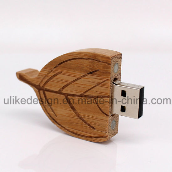 Wooden Leaf Shape USB Flash Disk with Customized pictures & photos