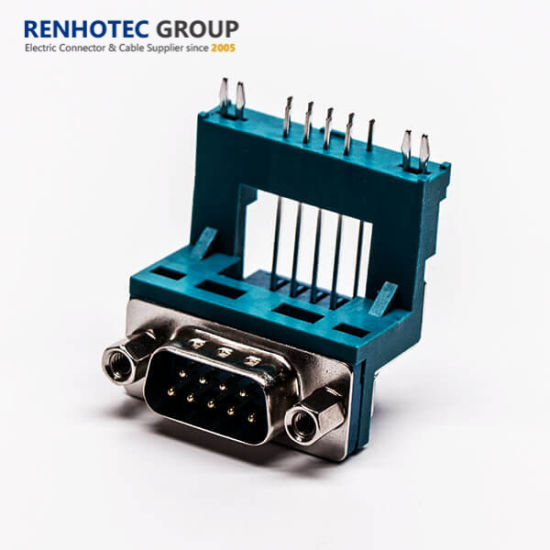 Blue Color 9pin Elevated D Sub Connector 90 Degree