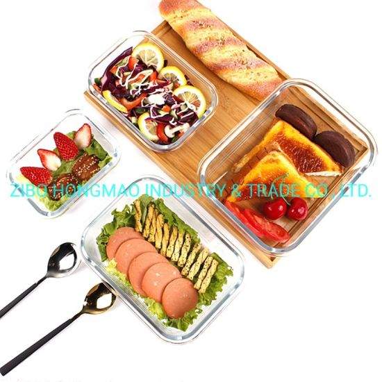 Hot Selling Rectangular Glass Food Container Lunch Box Glass Storage Box 1500ml