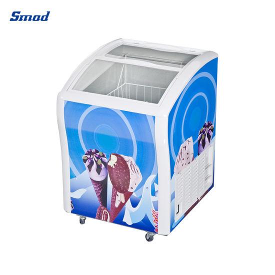 138L Sliding Door Curved Glass Door Ice Cream Chest Freezer