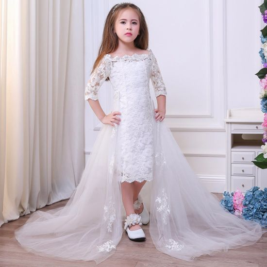 Evening Dress Children Wedding Bridesmaid Long Tail