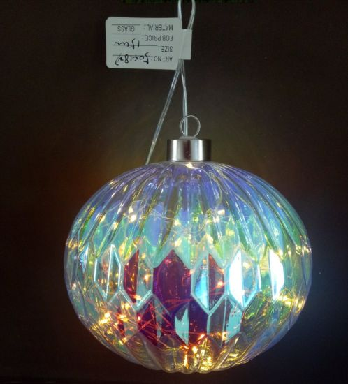 Hot Sales Christmas Glass Ornaments with String Light Inside