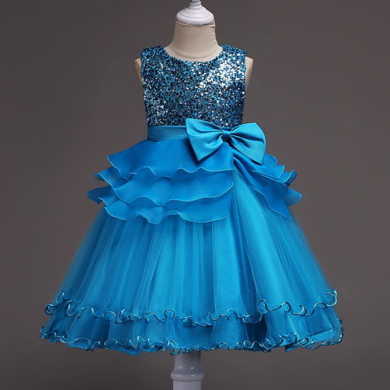 Children's Hot Selling Baby Girls Flower Sequins Evening Gown