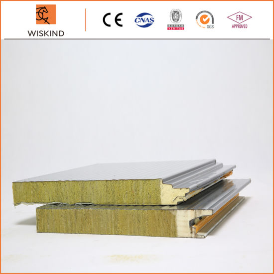 Economic Insulation PU Foam Edge Sealing Rock Wool Sandwich Panel with PVDF /PE/SMP/HDP Painting