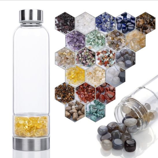 Crystal Water Glass BPA-Free Bottle with Rose and Amethyst Quartz Healing Gem Stones Infuser and Eco-Friendly Healthy Bamboo with Free Sleeve