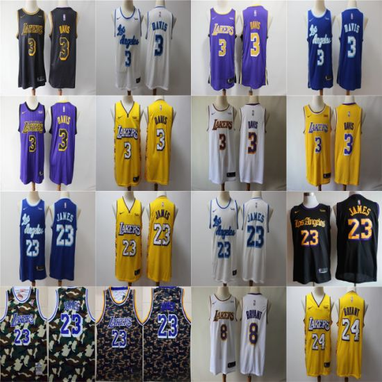 2020 City Edition Lakers James Anthony Davis Bryant Basketball Jerseys