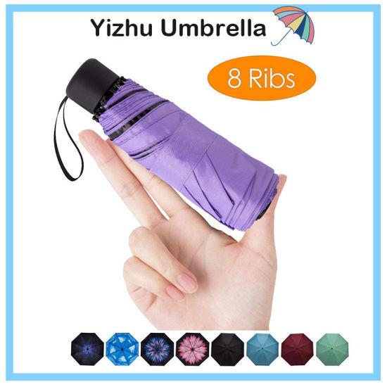Mini Travel Compact Windproof Umbrella - Small Folding Lightweight Sun & Rain Umbrellas with 95% UV Protection for Women Men (YZ-20-59)