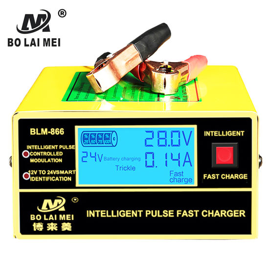 Professional Factory Newest Design LCD Display 12 V 24 V Universal Automatic Intelligent Pulse Battery Charger