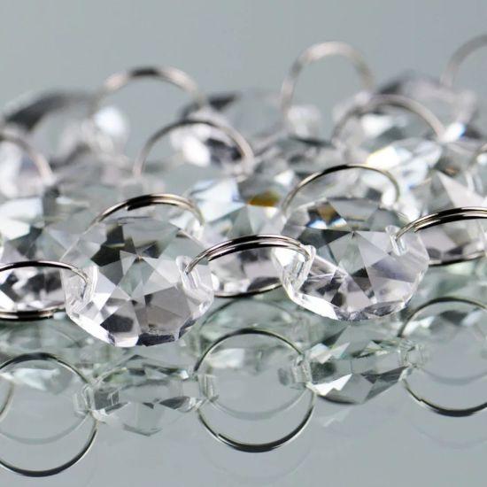 33FT Crystal Chandelier Prism Glass Bead14mm Octagon Chain Wedding Garland Part