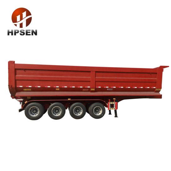 Hpsen 4 Axle Gooseneck U Shaped Hydraulic Cylinder Dump Truck Tipping Trailer
