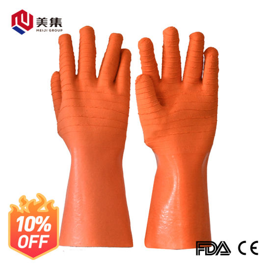 High Quality Long Sleeve Cotton Lining Latex Wrinkle Oil-Resistant Gloves