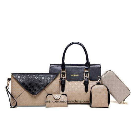 OEM   Whosale Latest Fashion 2018 PU Leather 5 Pieces Set Women Bag Tote  Handbag with 485eb09e110be