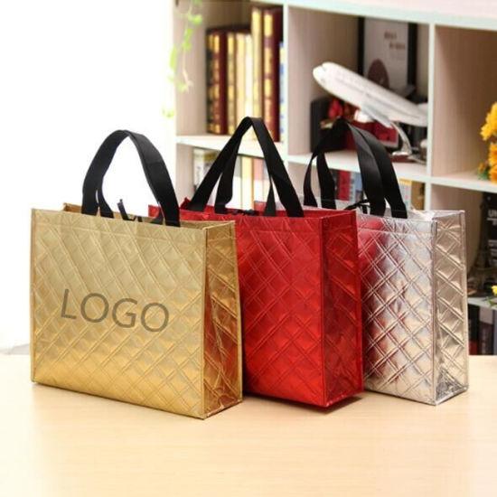 Embossed Promotional Non Woven Bag Custom Logo Laser Lamination