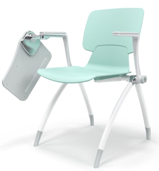 Folding Stackable Plastic Conference Hall Training Chair with Writing Tablet