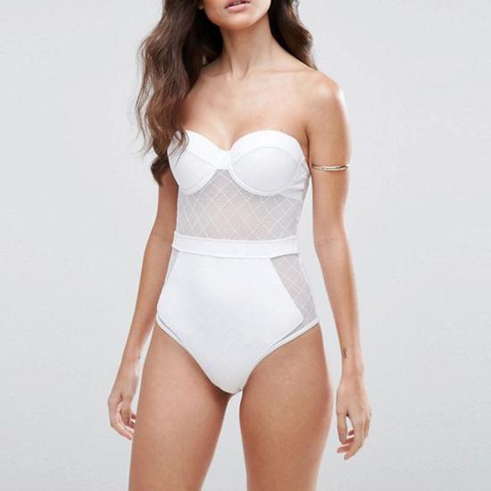 Lady High Waist Diamond Mesh Cupped Fashion Bathing One Piece Swimsuit Swimwear
