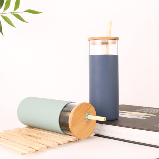 Juice Glass Water Bottle with Silicone Sleeve and Bamboo Lid