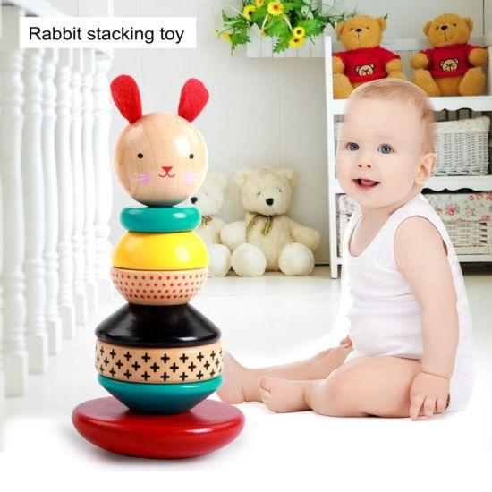 Wholesale Baby Learning Educational Wooden Rabbit Geometric Blocks Sorting Matching Toys