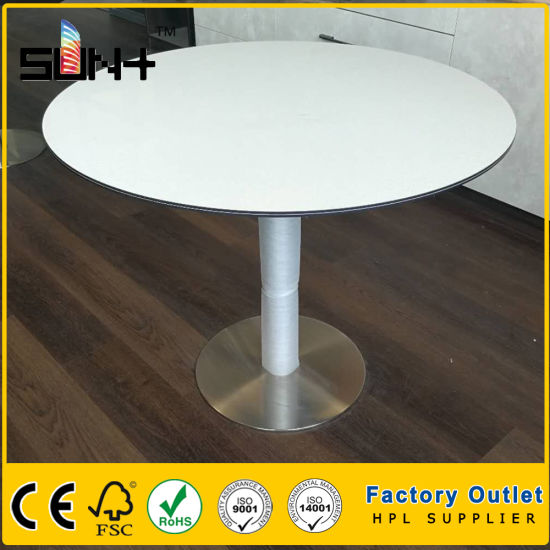 Compact Laminate Hpl White Dining Table