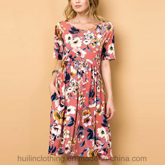 Women Wholesale Fashion Clothing Floral Printed Pocket Casual Dress pictures & photos